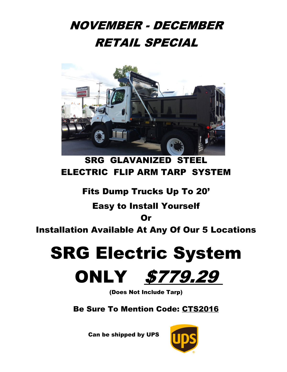 November / December Cramaro Tarp Systems retail specials