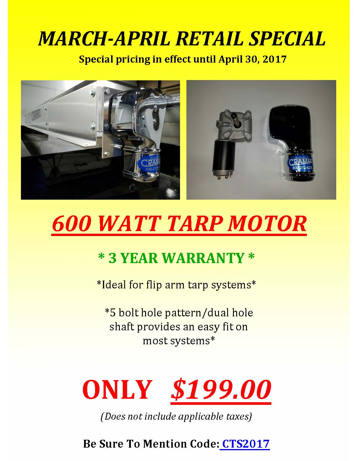 March / April Cramaro Tarp Systems retail specials
